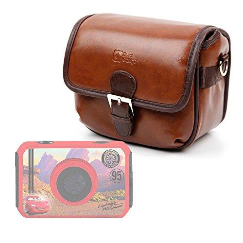 DURAGADGET Bolsa Profesional marrón con Compartimentos para cámara de niño Ingo Devices Hello Kitty   Minni   Violetta   Sakar Hello Kitty Tamaño Mediano.