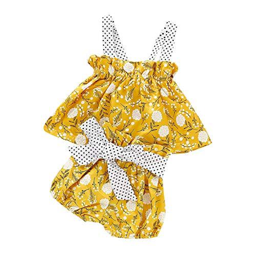 LEXUPE Säuglingsbaby-Sleeveless Punkt-rückenfreie Westeblumenoberseiten + Bogen-Kurzschluss-Ausstattungen(Gelb,70)