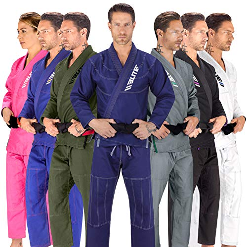 Elite Sports BJJ GI for Men IBJJF Kimono BJJ Jiujitsu GIS W/Preshrunk Fabric & Free Belt (See Special Sizing Guide) (Navy, A1)