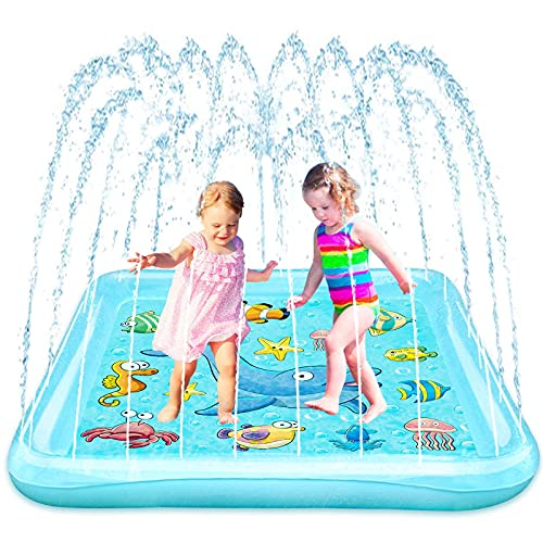 Growsland Splash Pad, 67' Sprinkler for Kids Toddlers, Fun Outdoor Water Toys Summer Inflatable Wading Kiddie Pool Gift for 1 2 3 4 5 6 Year Old Girls Boys Backyard Garden Lawn Games