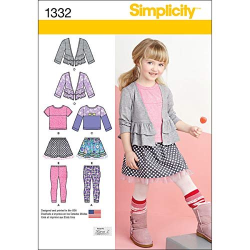 Simplicity 1332 Girl's Skirt, Knit Leggings, and Cardigan Sewing Pattern by Karen Z, Sizes 3-8