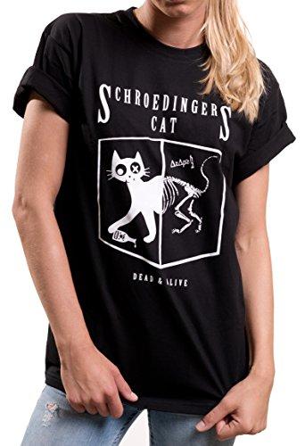 MAKAYA Oversize Top Talla Grande Manga Corta - Gato Schrodinger - Camiseta Sheldon para Mujer Negro XXXL