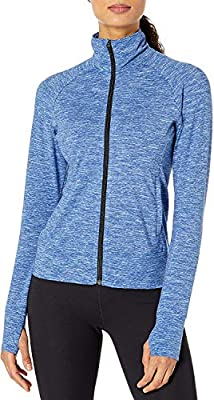 Covalent Activewear Womens Full-Zip Soft Space Dye Dance Jacket with Thumbholes French Blue