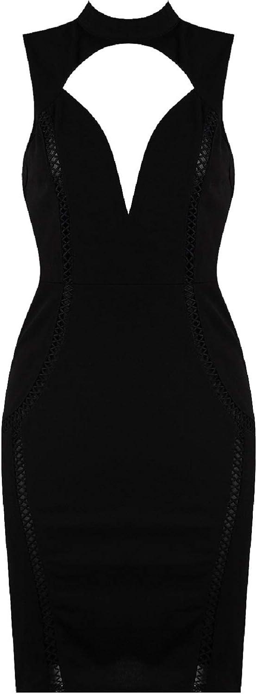 Vogue Style 95 Womens Choker Neck Lace Detail Front Sheath Black Dress