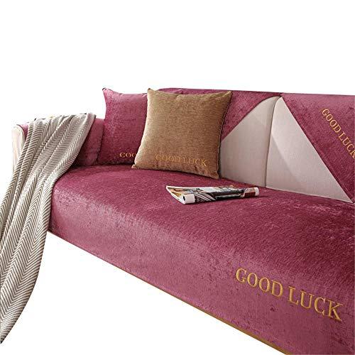 Cojín Suave de Chenilla Funda de sofá Minimalista Moderna Funda Antideslizante para sofá Cuatro Estaciones Fundas de sofá Fundas de sofá para Sala de Estar,Rojo,90X120cm