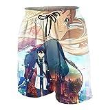 XCNGG Pantalones Cortos de Playa Teen Boy Beach Shorts Trunks Sword Art Online The Movie-Ordinal Scale Boardshort