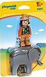 PLAYMOBIL- 1.2.3 Cuidadora con Elefante Juguete, Multicolor (geobra Brandstätter 9381)