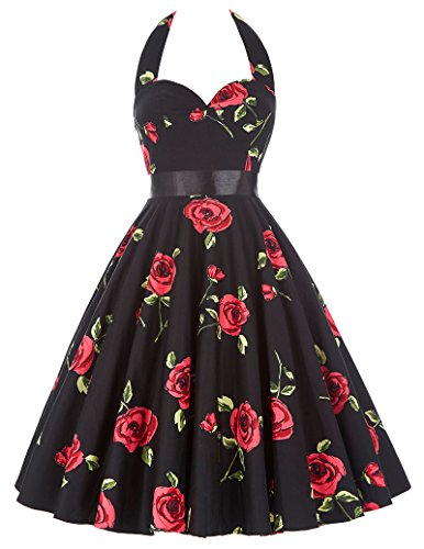 50s Dancing Swing Dress Halter Neck Vintage Floral Dress for Women 75-28, L