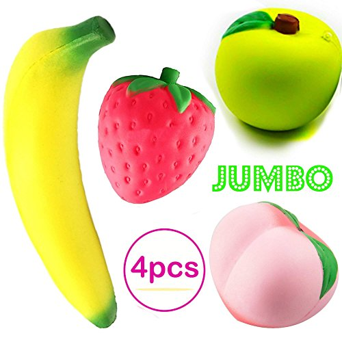Squishies Slow Rising Jumbo | Prime 4 Pack | Kawaii Squishy Toys Package Strawberry Peach Banana Apple | Giant Scented Fruit Toy Pack Cute Squishys Super Soft Stress Relief GIFT For Kids & Adults