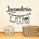 Lavandería italiana lavandería logotipo señal lavadora colgar ropa lavar en seco doblar etiqueta de la pared calcomanía de vinilo sala de estar tienda hotel decoración del hogar mural