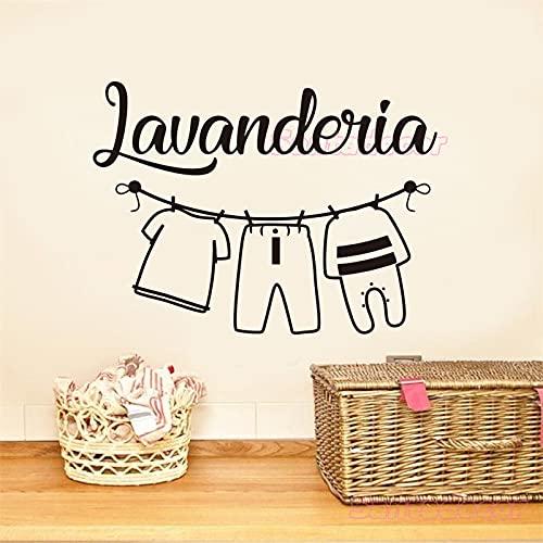 Lavandería italiana lavandería logotipo señal lavadora colgar ropa lavar en seco doblar...