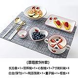 WHWH Juego de Cubiertos para una Persona Cubiertos nórdicos Desayuno Individual Platos creativos-9 Piezas de ensaladera