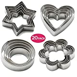 KAISHANE 20 Pieces Cookie Cutters Set Biscuit Cutters Pastry Cutters 4 Shapes (Star Heart Flower Round Shapes) Stainless Steel for Baking