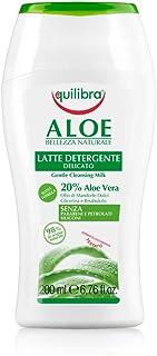 Equilibra Viso, Aloe Latte Detergente, Latte Detergente Viso Delicato a Base di Aloe Vera, Adatto a Pelli Sensibili, Struc...