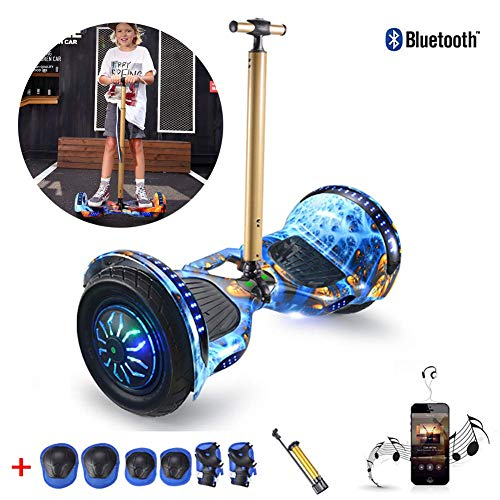 "QX Scooter Self Balancing Scooter 10"" Skateboard Added Portable Design and Adjustable Safety Handrail with Spider Glow Wheel, Bluetooth, Best Toy and Gift for Children+ a Set of Protective Equipment"