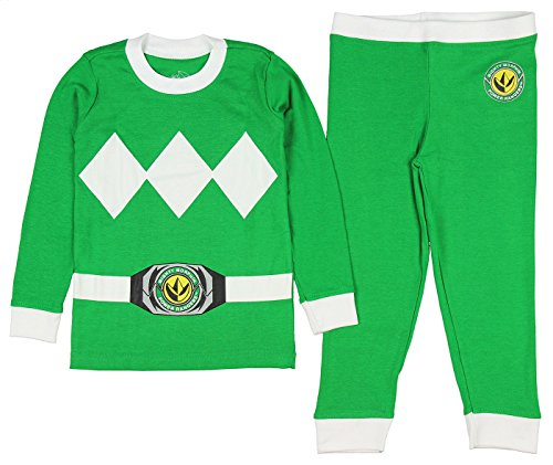 INTIMO Kids Mighty Morphin Power Rangers Costume Pajama Set (Green, 8)