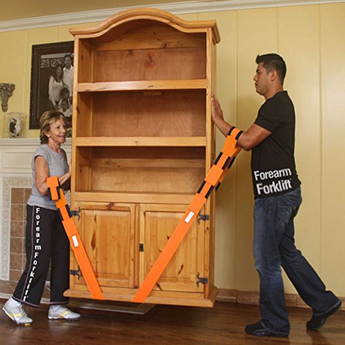 Forearm Forklift Lifting and Moving Straps for Furniture, Appliances, Mattresses or Heavy Objects up to 800 Pounds 2-Person, Orange, Model L74995CN