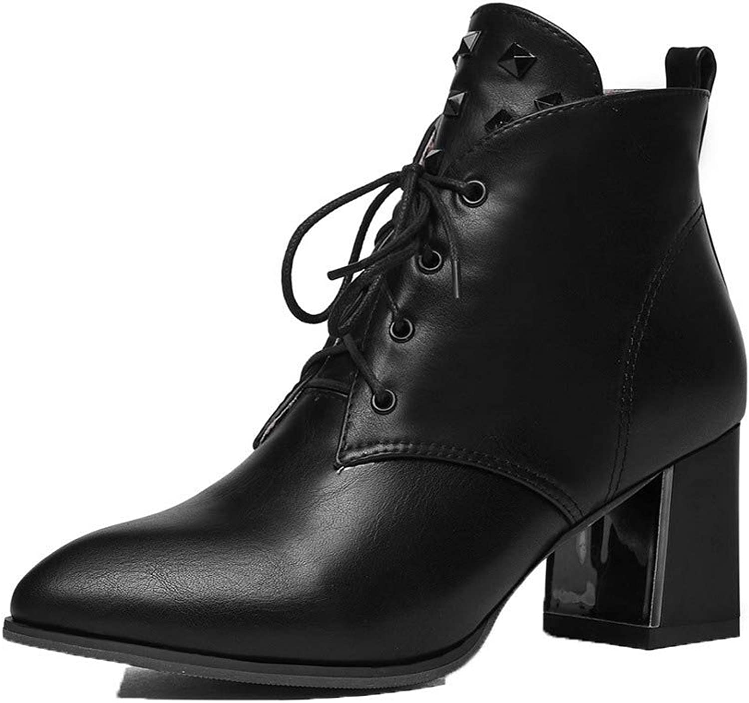 WeenFashion Women's Lace-Up Kitten-Heels Pu Solid Low-Top Boots, AMGXX128579