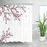 LIVILAN Duschvorhang, Kirschblütenmuster, mit 12 Haken, Stoff, dekoratives Badezimmer-Dekor, Sakura, japanisches Anime, 179,8 x 179,8 cm