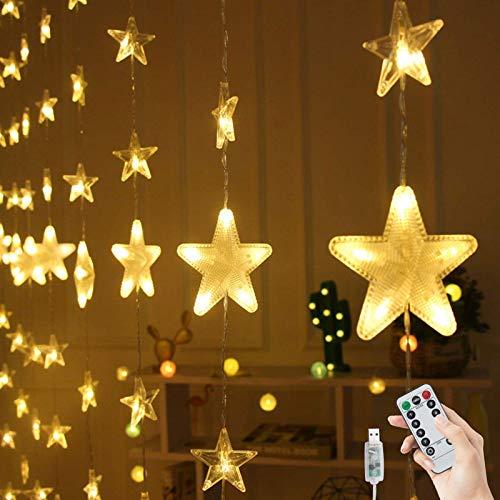 BLOOMWIN Guirnaldas Luminosas Estrellas Cortina Luces 2m x 1.6m 144 LED 80 Estrellas USB con Control Remoto 8 modos Cadena Luces de Navidad para Balcón, Ventana, Pared, Escaparate, Boda, Fiesta