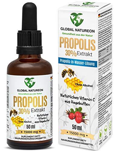 GLOBAL NATUREON® Propolis-in-Wasser-Lösung Extrakt 30% Tinktur 15000 MG(50 ml) plus natürliches Vitamin C aus Hagebutten I Polyphenolen, Flavonoiden, Terpene,100% natürlich, vegan, alkoholfrei