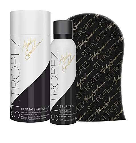 St Tropez x Ashley Graham Limited Edition Ultimate Glow Kit, Self Tan Luxe Whipped Crème Mousse and Self Tanning Mitt, Vegan Self Tanner with Hyaluronic Acid Complex and Anti Oxidants, 6.7 Fl Oz