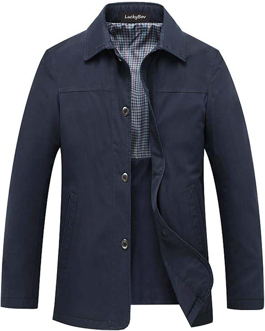 LuckyBov Men Button Front Windproof Suit Blazer Casual Slim Challenge the lowest price Max 76% OFF Fit
