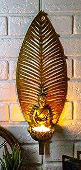 Ebros Meditating Buddha Shakyamuni On Lotus Throne with Banyan Leaf Background Tea Light Votive Candle Holder Wall Decor Plaque 13  Tall Buddhism Amitabha Figurine Candleholder Zen Home