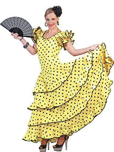 Flamenco Kleid zum Samba Kostüm für Damen Gr. 32 34 - Tolles Spanierin Brasilianerin Tänzerin Kleid
