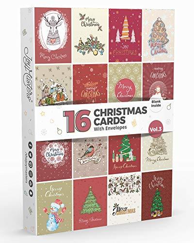 Joy Masters™ Biglietti di Buon Natale Assortiti – Set di 16 Biglietti d'Auguri con Busta – Interno Bianco - per Bambini e Adulti
