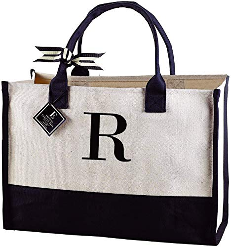 """Mud Pie Classic Black and White Initial Canvas Tote Bags (R), 100% Cotton, 17"""" x 19"""" x 2"""""""