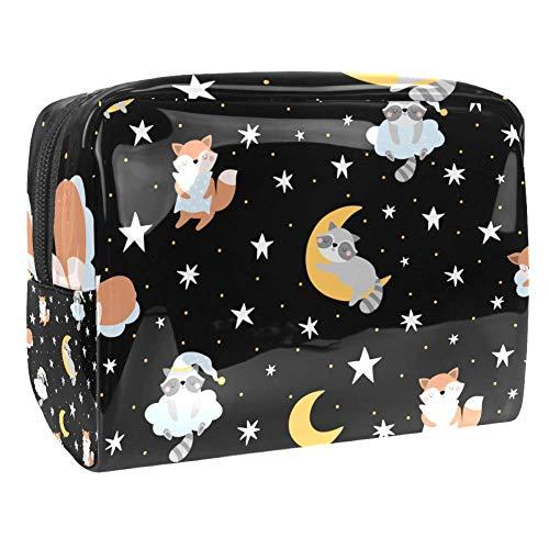 Makeup Bag,Sleeping Raccoon Fox Animals And Stars Pattern Cosmetic Travel Bag Large Toiletry Bag Makeup Organizer for Women