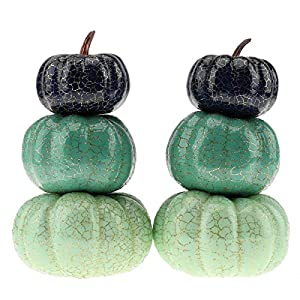 Gresorth 2 PCS Crack Stacked Tower Model Artificial Fake Pumpkins Decoration for Autumn Fall Home Party Christmas Display
