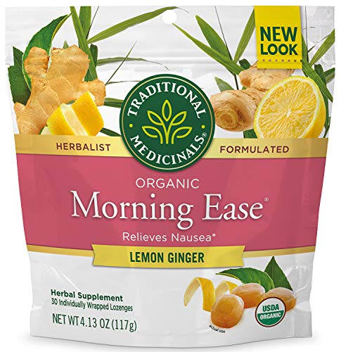Traditional Medicinals Organic Morning Ease Anti-Nausea Lozenges, Relieves Morning Sickness Associated with Pregnancy, Lemon Ginger (30 count)