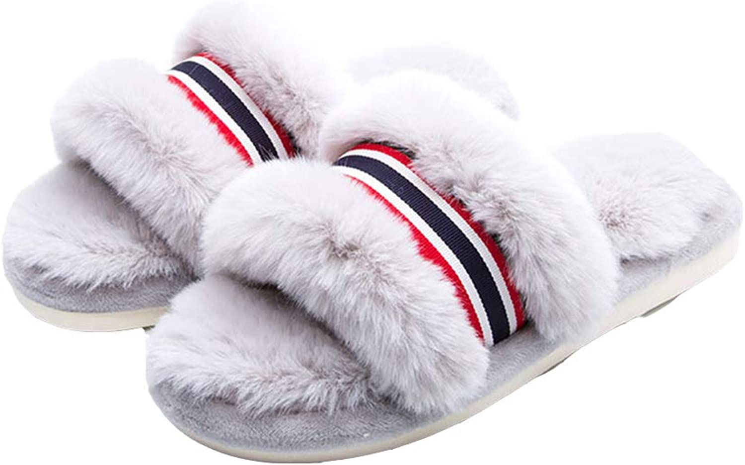 T-JULY Women's Striped Fluffy Fur Slippers shoes Fashion Suede Winter Plush Warm Flats Slides Rabbit Hair Sandals