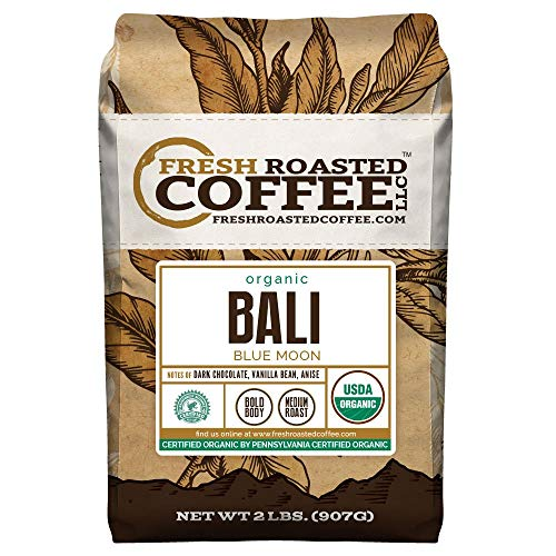 Fresh Roasted Coffee LLC, Bali Blue Moon Coffee, USDA Organic, RFA Certified, Medium Roast, Whole Bean, 2 Pound Bag