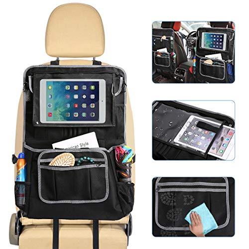 GEMITTO Auto Rückenlehnenschutz, Auto Organizer für Baby, Kinder Spielzeug Lagerung mit Große Taschen und Durchsichtigem iPad, 600D Oxford-Tuch für Zeitschriften, Papierhandtücher 61 x 43cm