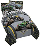 Monster Jam MJ Life 4 Piece Twin Bed Set - Includes Reversible Comforter & Sheet Set - Bedding Features Grave Digger, Max-D, Megalodon - Super Soft Microfiber - (Official Monster Jam Product)