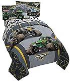Monster Jam MJ Life 5 Piece Full Bed Set - Includes Reversible Comforter & Sheet Set - Bedding Features Grave Digger, Max-D, Megalodon - Super Soft Microfiber - (Official Monster Jam Product)