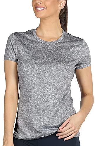 icyzone Sport T-Shirt Damen Kurzarm Laufshirt - Atmungsaktive Fitness Gym Shirt Schnell Trockened Funktionsshirt (M, Grau)