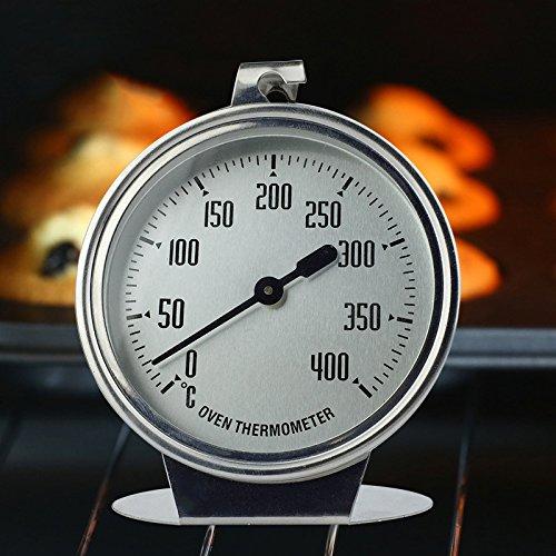 HUVE Edelstahl Ofenthermometer 0-400 °C, Bimetall, Backofen, Bratofen, Holzofen, Holzbackofen, Pizzaofen, Ofen Thermometer Analog