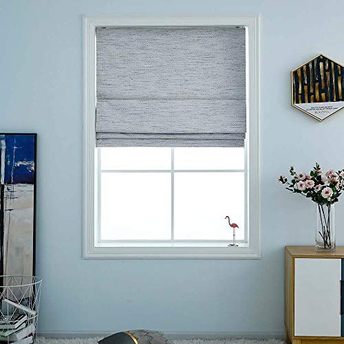 """Washable Darkening Cordless Roman Shades for Windows, Double Tone Color Jacquard Textured Woven Polyester Belmar Roman Blind for Living Room/Nursery/Bedroom 39"""" W × 64"""" L Stone"""