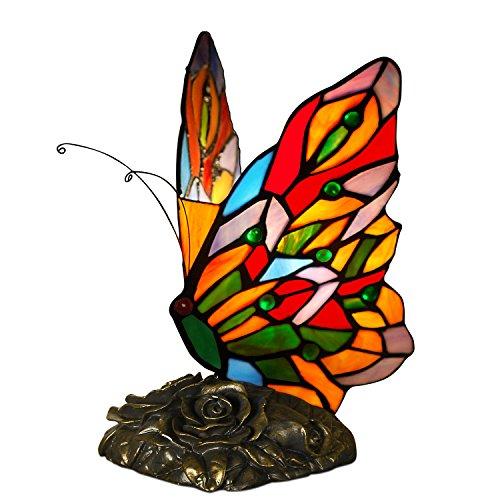 World Art TW60003 Lampes Style Tiffany Papillon, 23x15x16 Cm