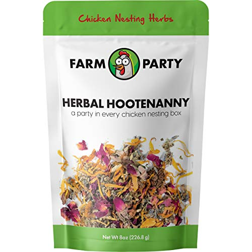 Farm Party - Herbal Hootenanny Nesting Herbs for Chickens (8 Ounces) Keeps Chicken Nesting Boxes Fresh. Natural Nesting Box Blend for the Chicken Coop