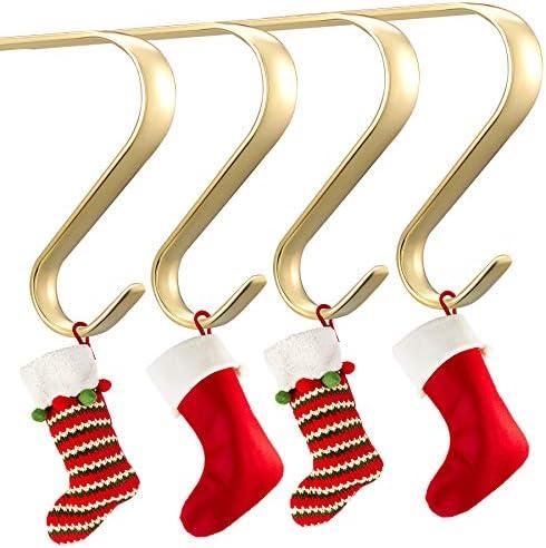 Oubomu Zinc Alloy Christmas Stocking Hangers for Mantel Set of 4 Fireplace Adjustable Stocking product image
