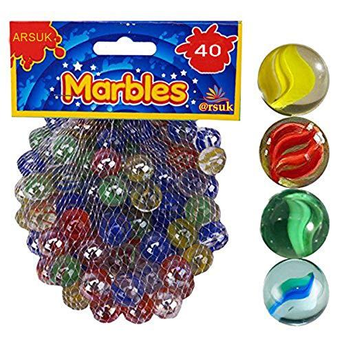 ARSUK Glasmurmeln, Spielzeug, Deko Kugeln Durchsichtig Klare Glasmurmeln, Dekoration Glaskügelchen bunt (Katzenauge Murmeln, 40 Stück)