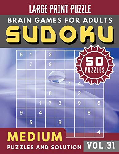 Sudoku Medium: sudoku puzzle books for women | Sudoku medium difficulty Puzzles and Solutions For Beginners Large Print (Sudoku Brain Games Puzzles Book Large Print Vol.31)