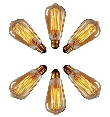 Preisvergleich Produktbild XIHOME Vintage Edison Glühbirne Retro Altmodische 60W ST64 E27 Schraube 220V-240V Klassisch Glühbirnenkäfig Wolframfäden Bernstein Glas Antikstil Dimmbar 2700K,  Warm White-6 Bulbs Pack