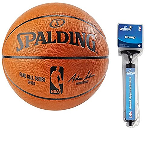 Read About Spalding NBA Indoor/Outdoor Intermediate Size Replica Game Ball with Pump