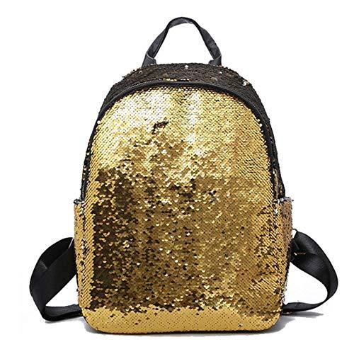 JNML pailletten schoolrugzak mode dames leren rugzak casual vrouwelijke laptop rugzak, goud